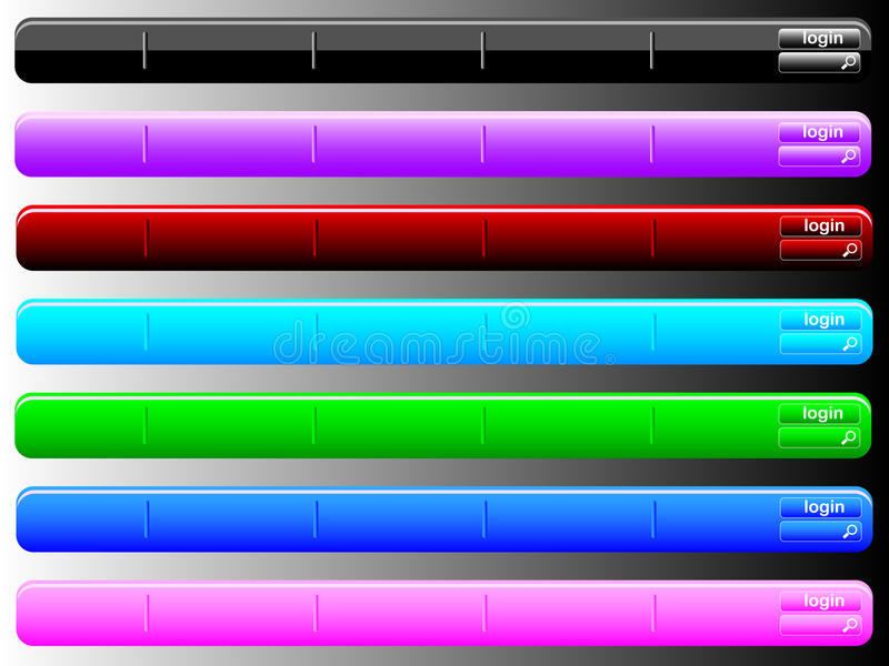 Multi colored navigation bars. Navigation bar colored in different vector illustration