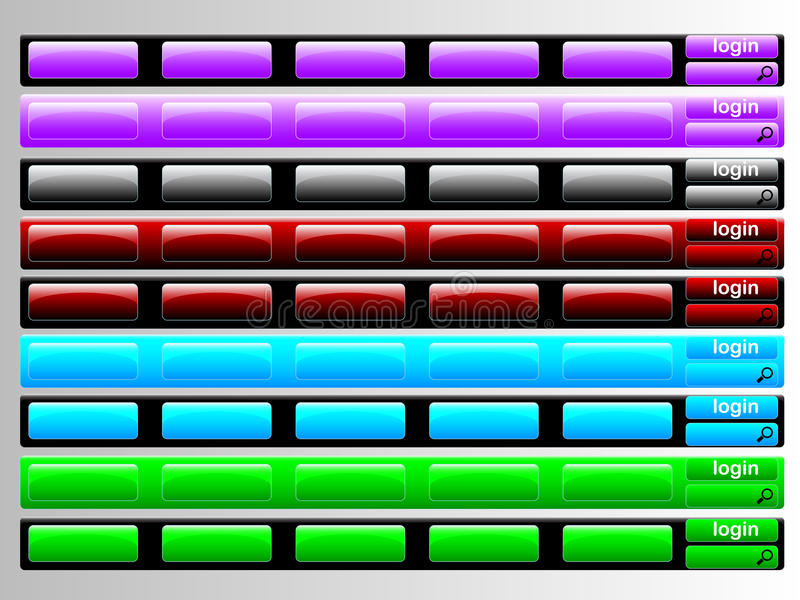 Multi colored navigation bars. Navigation bar colored in different royalty free illustration