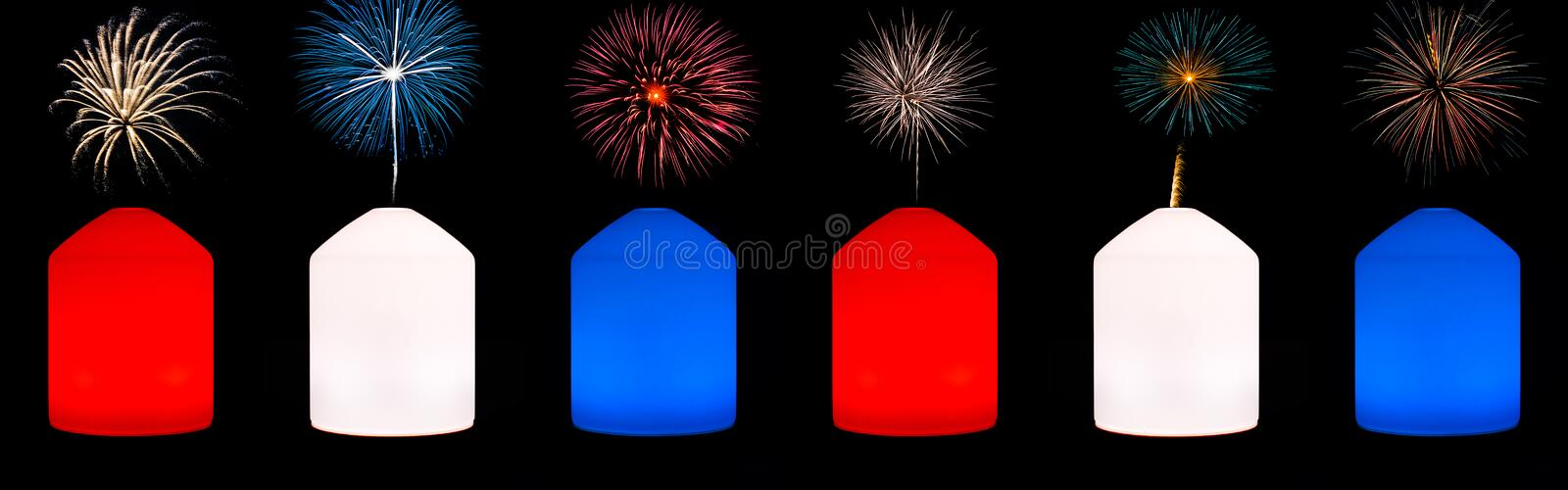 Multi colored objects and fireworks banner royalty free stock image