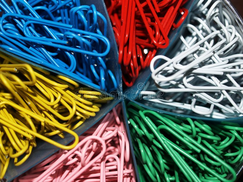 Multi-colored Office Paper Clips royalty free stock image