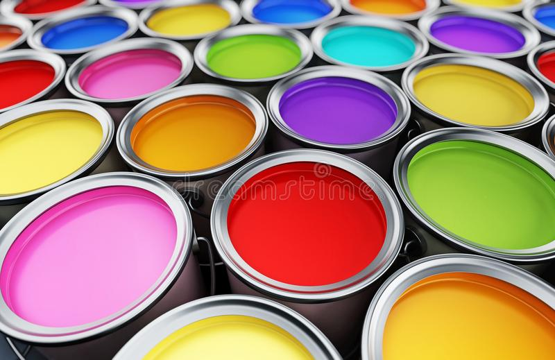 Multi colored paint cans background. 3D illustration stock illustration