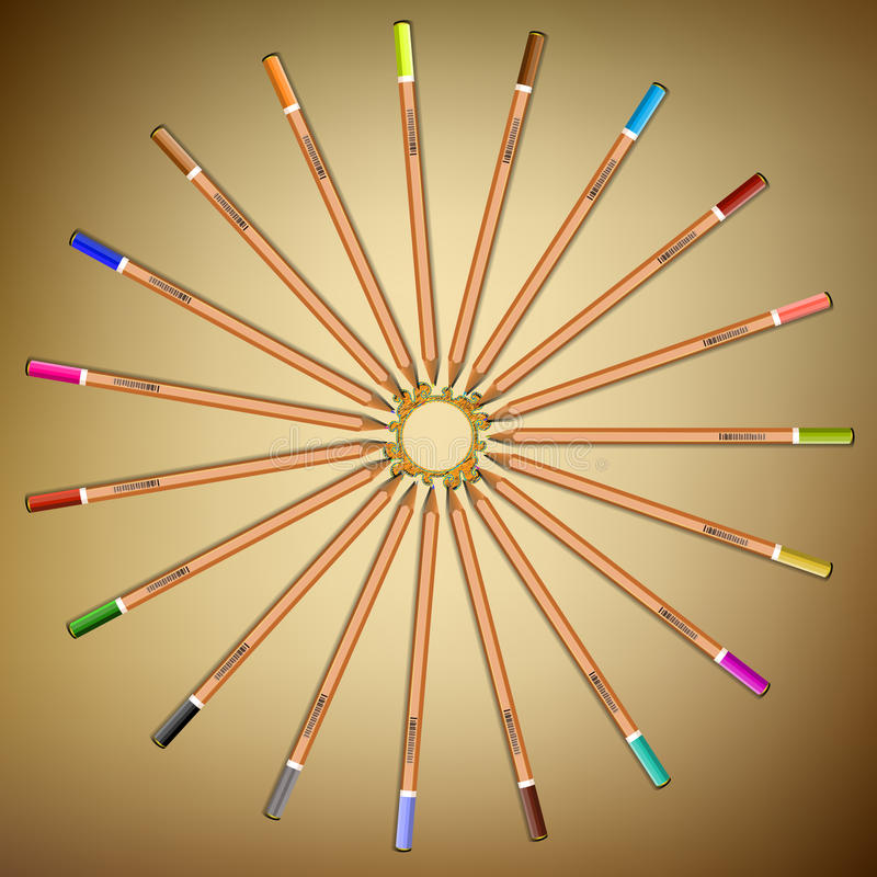 Multi-colored pencils laid out in a circle on the paper.Vector royalty free stock photography