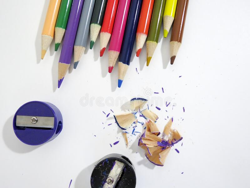 Multi Colored Pencils on White Background stock photography
