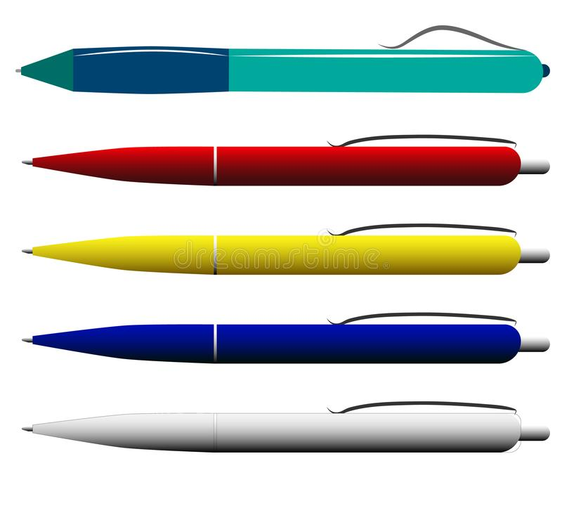 Multi-colored pennen op een witte achtergrond stock fotografie