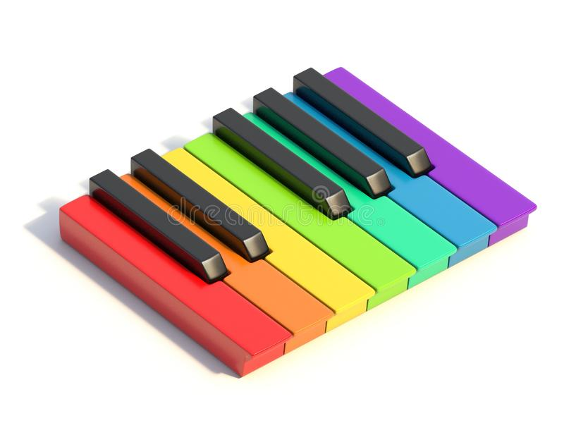 Multi colored piano keys One octave side view 3D stock illustration
