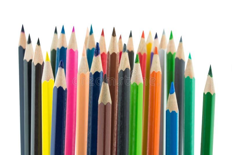 Multi-colored potloden en het schilderen materiaal stock fotografie