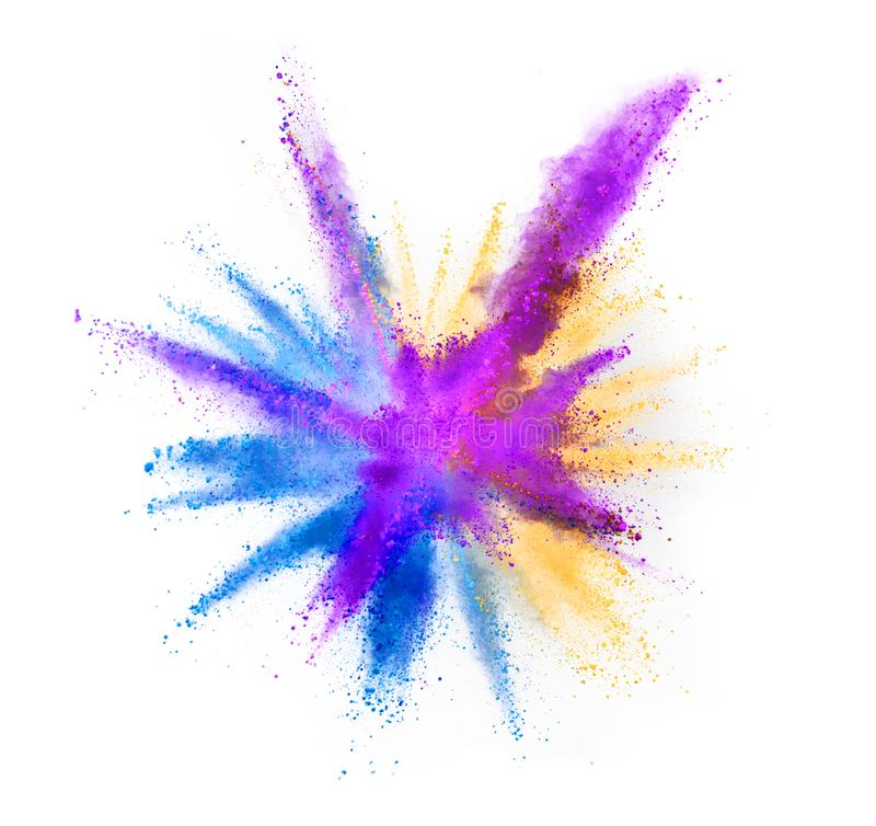 Multi colored powder explosion isolated on white stock images