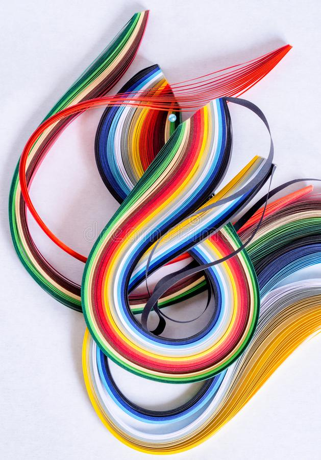 Multi-colored quilling paper. Abstract background. March 8 stock photography
