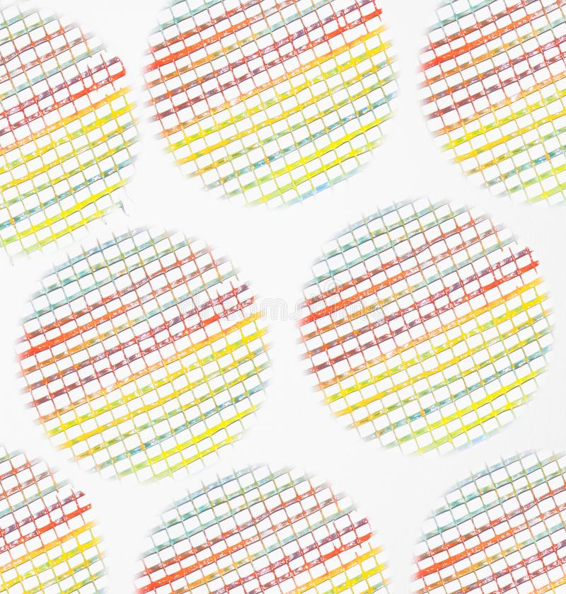 Multi colored rainbow circles. Seamless pattern with abstract geometric shapes. Different ornaments on white background. Compositi royalty free stock image