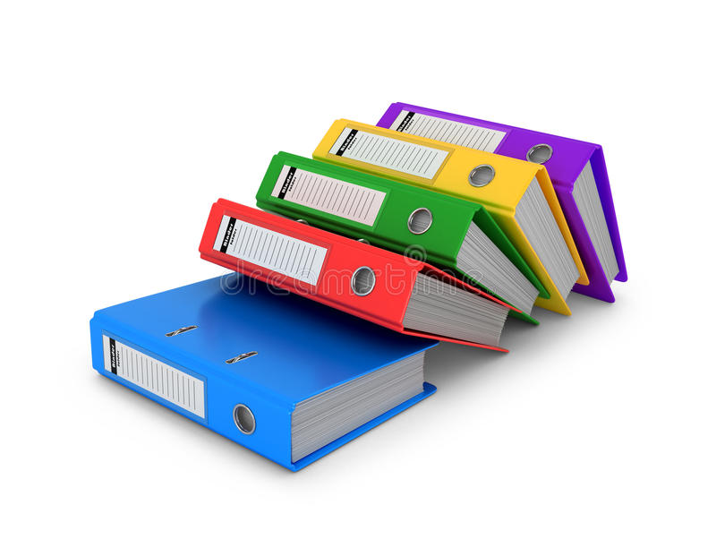 Multi-colored ring binders on a white background. stock illustration