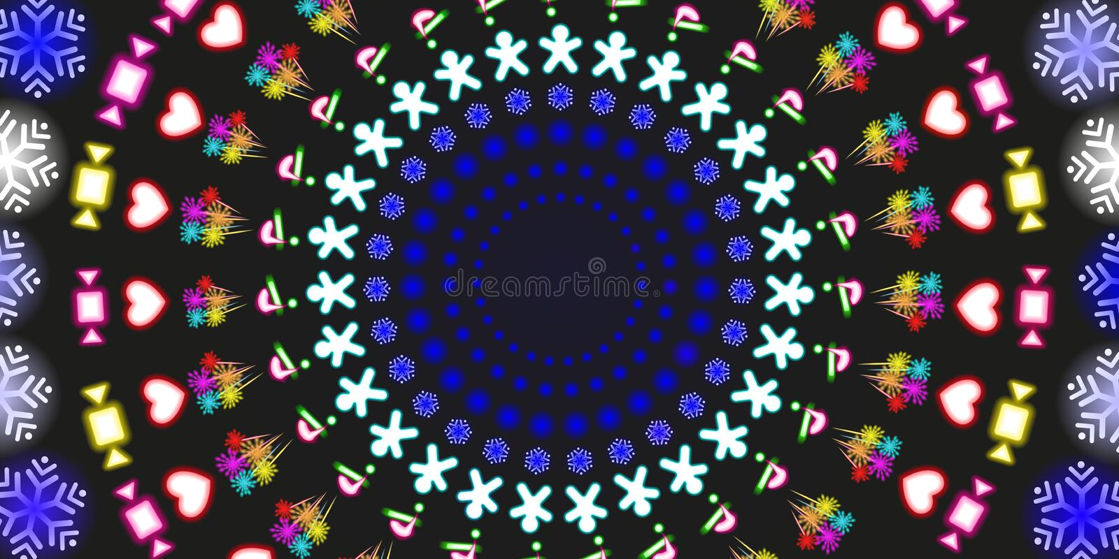 Multi-colored round neon shining, Christmas and New Year background. Colorful abstract glowing on black background fluorescent stock photography