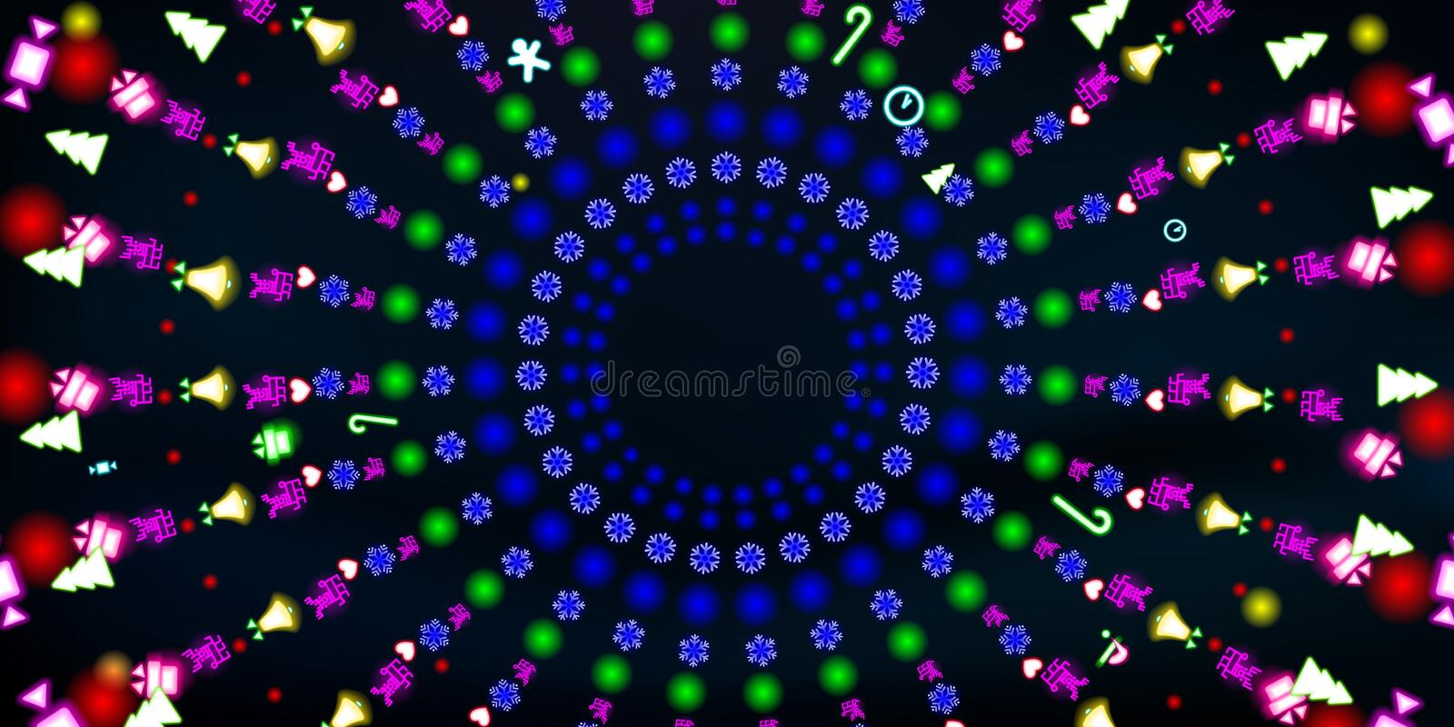 Multi-colored round neon shining, Christmas and New Year background. Colorful abstract glowing on black background fluorescent stock photo