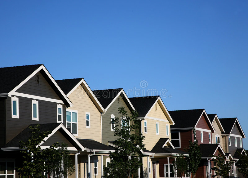 Multi-colored Row of Houses royalty free stock image