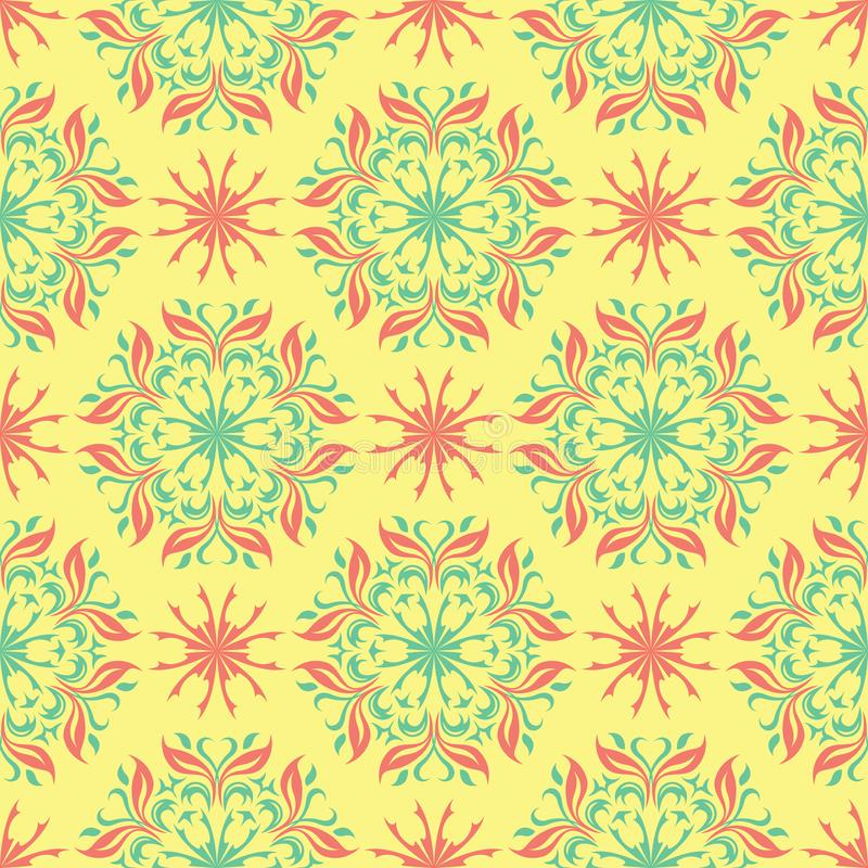 Multi colored seamless floral background. Pink blue green and yellow pattern vector illustration
