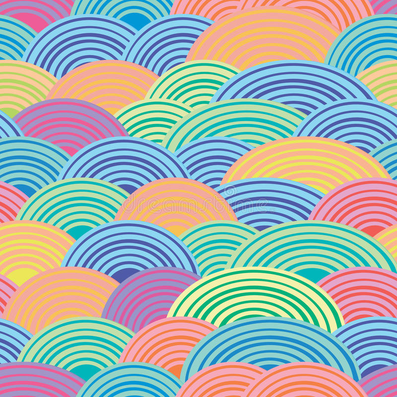 Multi-colored semicircles. Spiral line. Festive cheerful background. Seamless vector pattern. vector illustration