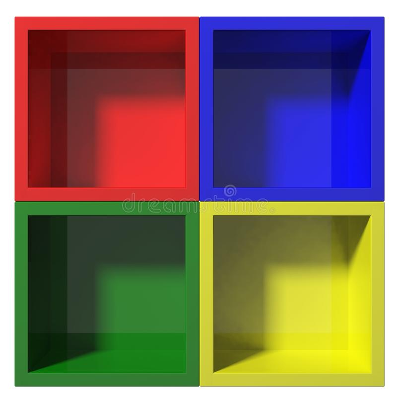 Multi colored shelves. 3d Empty multi colored shelves for exhibit royalty free illustration