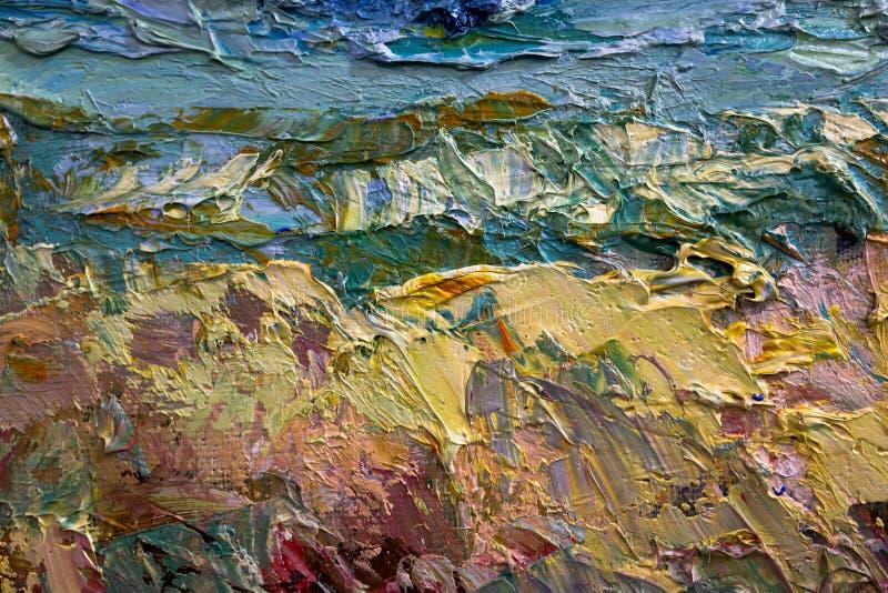 Multi-colored slagen van olieverf op het palet van de kunstenaar Achtergrond royalty-vrije stock fotografie