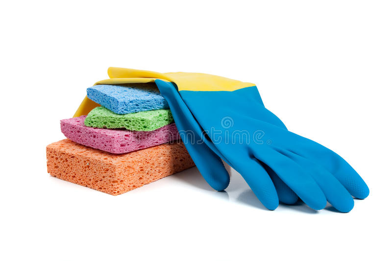 Download Multi-colored Sponges And Rubber Gloves On White Stock Image - Image: 11793897