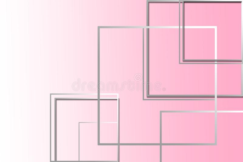 Multi-colored square figures on a pink background with a place under the text royalty free illustration
