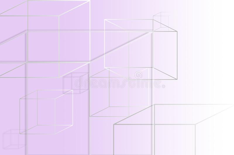 Multi-colored square figures on a purple background with a place under the text vector illustration