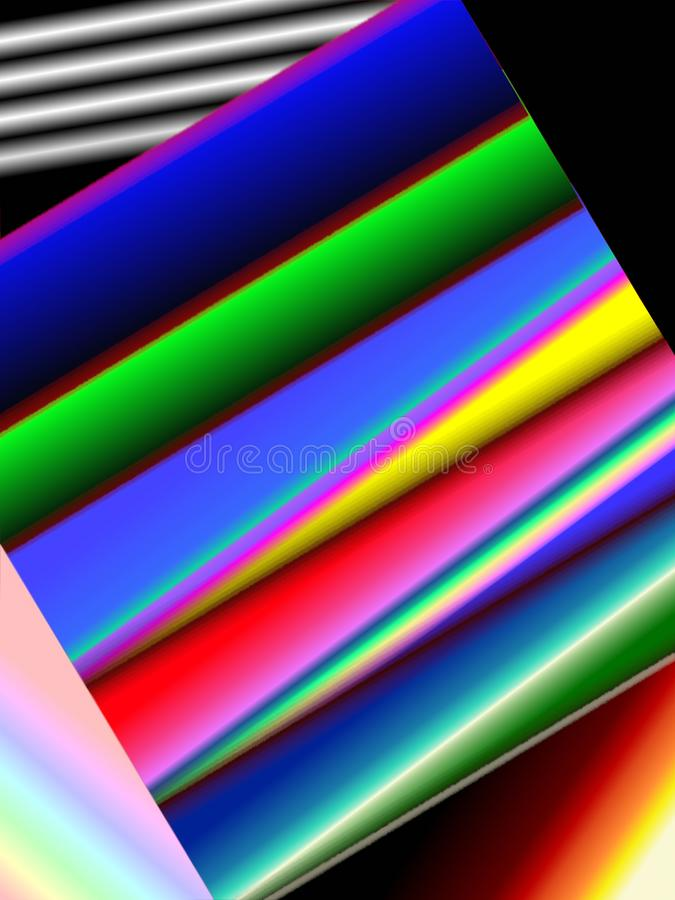 Multi-colored stripes of different sizes, abstraction. Rainbow colors background, inverted image, illustration stock image