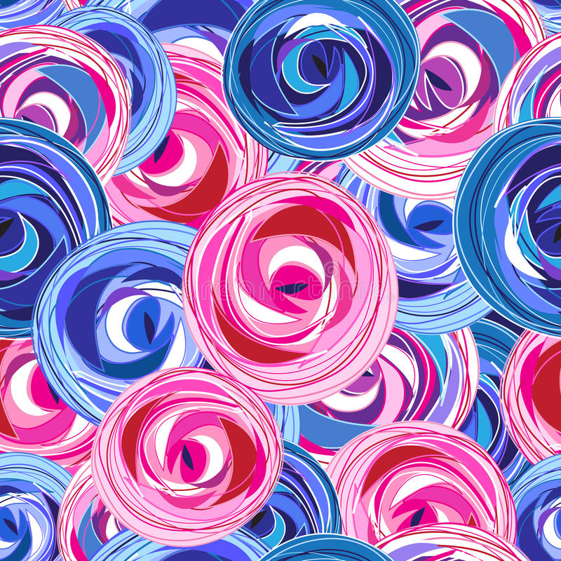Multi-colored summer pattern different roses royalty free illustration