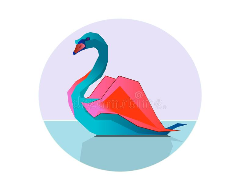 The multi-colored swan is on a water surface. In the liquid there is a weak reflection of the animal. stock illustration
