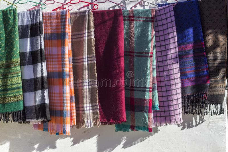 Multi colored traditional designed scarfs royalty free stock images