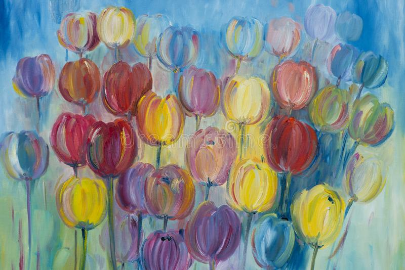 Multi colored tulips painted with watercolours, art background or pattern stock photo