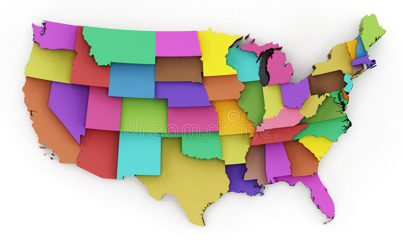 Multi Colored USA Map Showing State Borders 3D Illustration Stock