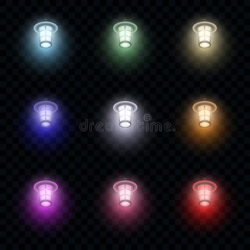 Multi-colored vector glowing lanterns on dark transparent background stock illustration