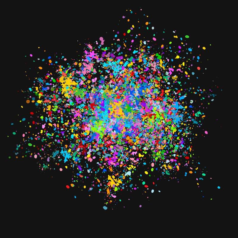 Multi-colored vectorachtergrond van kleurrijke dalingen en plonsen van verf Holifestival van Kleuren Vectorillustratie stock illustratie