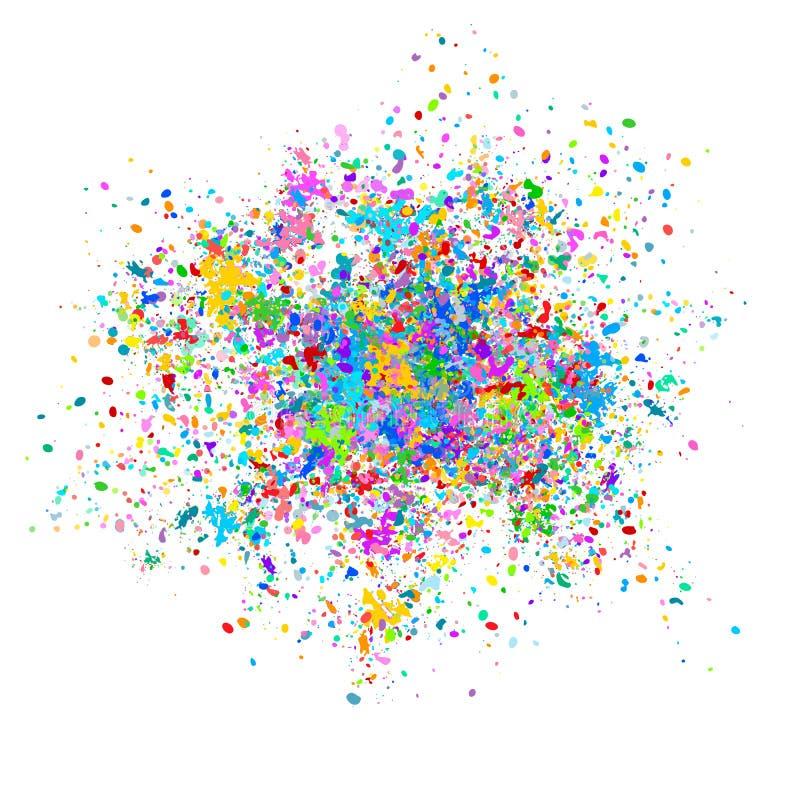 Multi-colored vectorachtergrond van kleurrijke dalingen en plonsen van verf Holifestival van Kleuren Vectorillustratie royalty-vrije illustratie