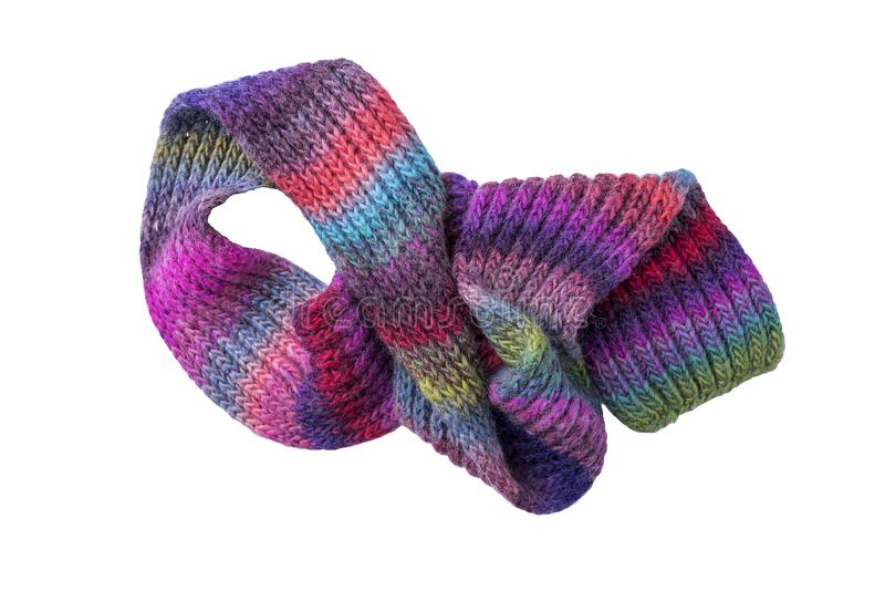 Multi-colored winter scarf. royalty free stock photography