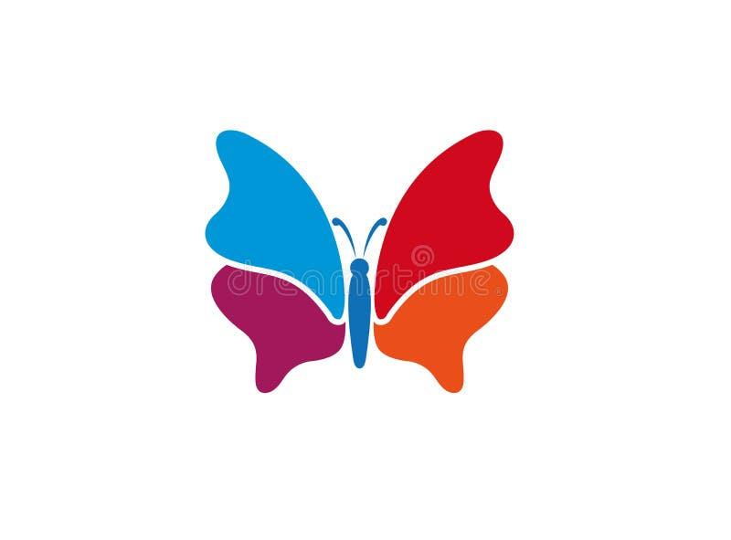 Multi-colores brillantes y elegantes hermosos y coloridos de la mariposa para el diseño del logotipo stock de ilustración