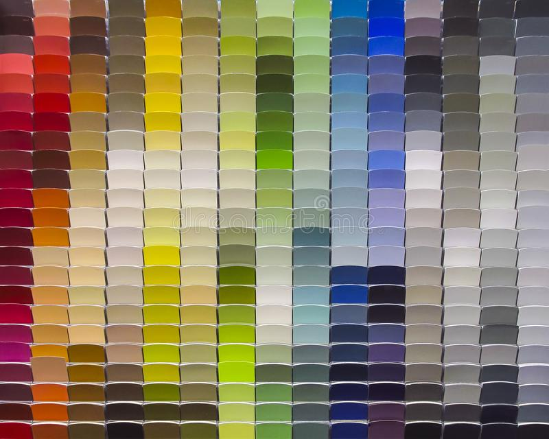 Multi colorful paint samples. Display stand stock photos