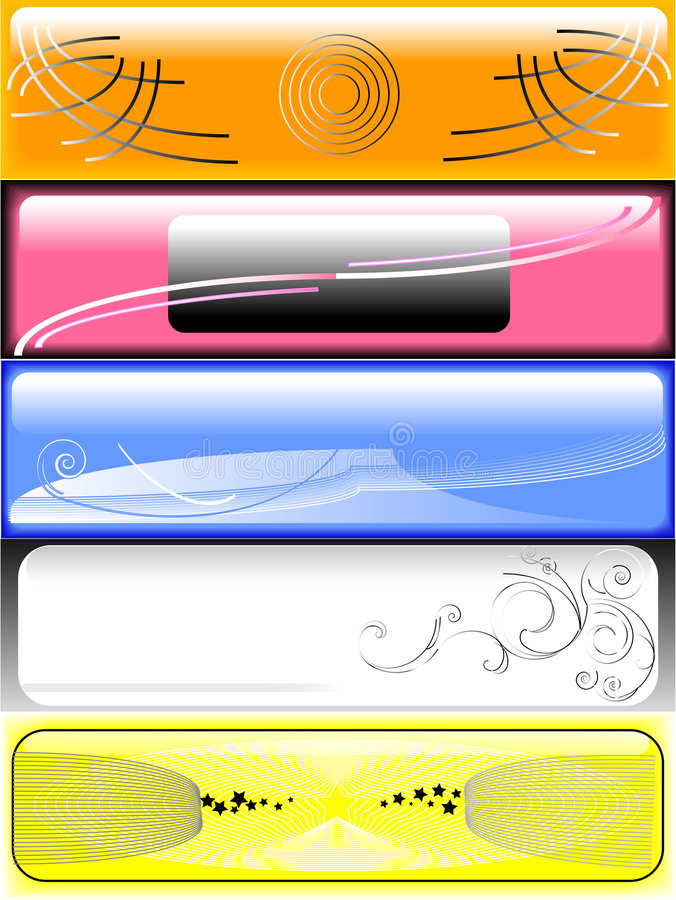 Multi colour benners. Five banners on different themes stock illustration