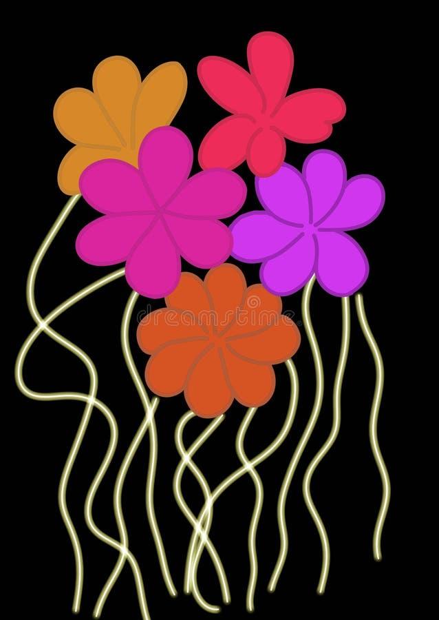 Multi colour flowers on a black background. stock illustration