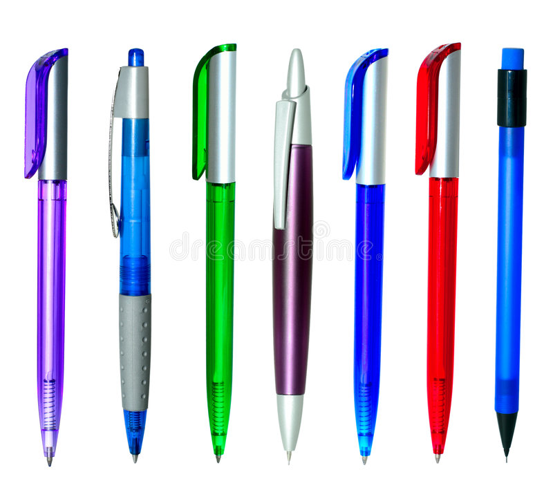Multi-coloured ball pens. Multi-coloured handles on white background stock photos
