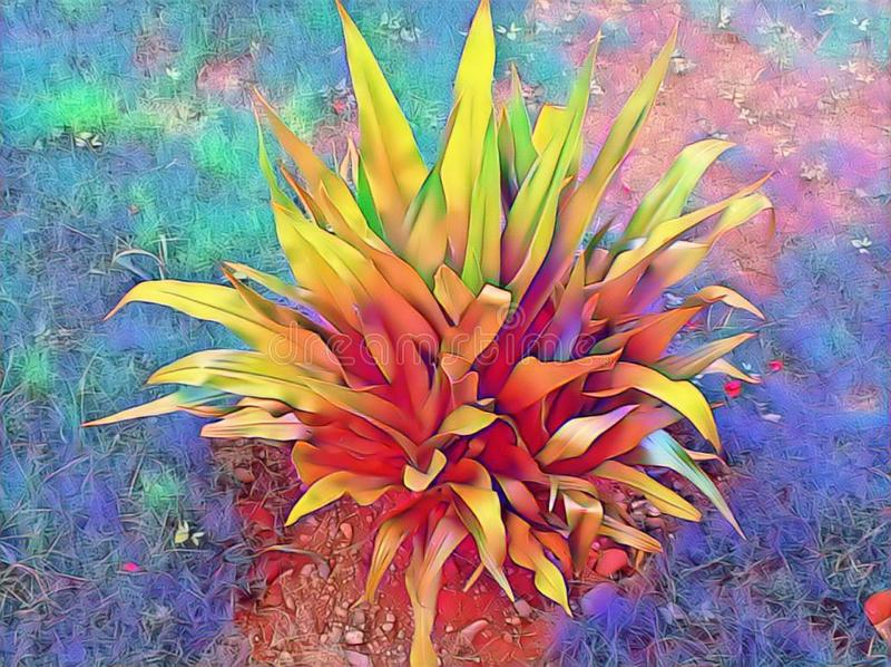 Multi coloured beautiful natural leaves plant painting design stock illustration