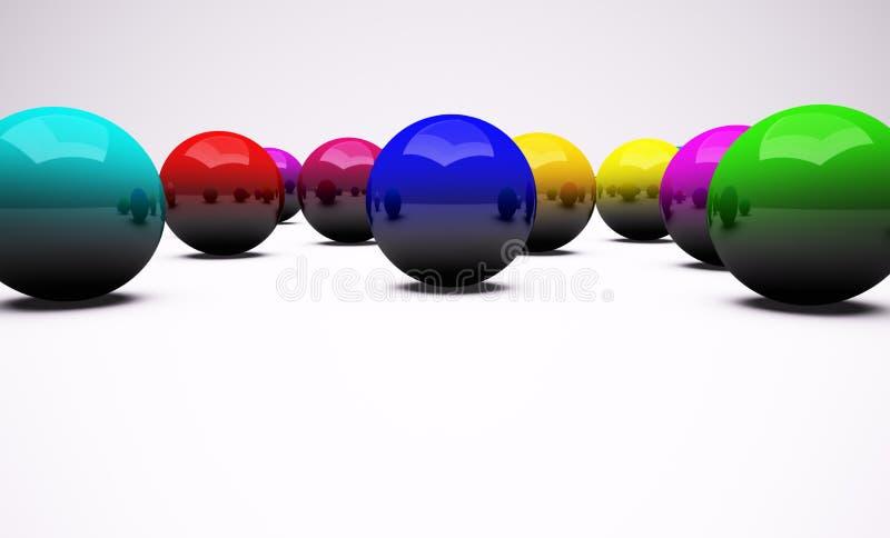 Multi-coloured chrome balls background stock illustration