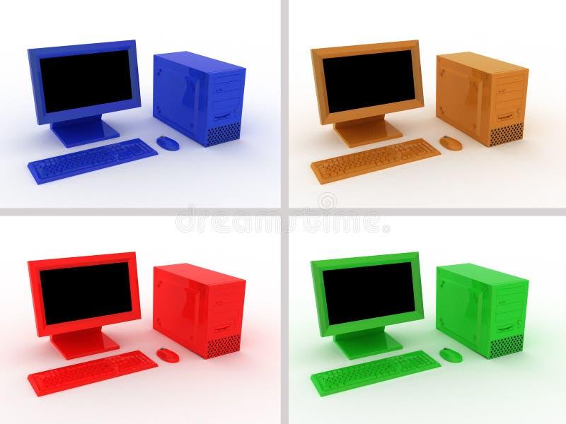 Multi-coloured computers royalty-vrije illustratie