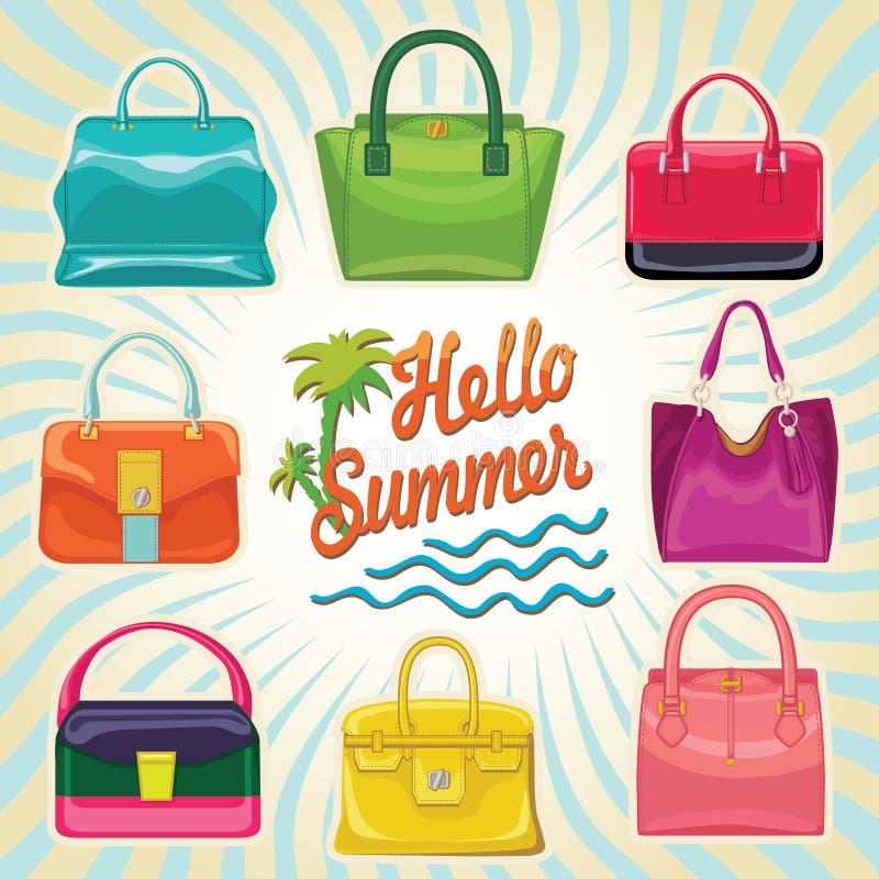 Multi-coloured fashion women's handbag.Hello summer stock illustration