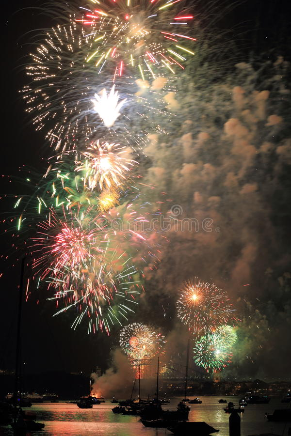 Colorful fireworks scenery