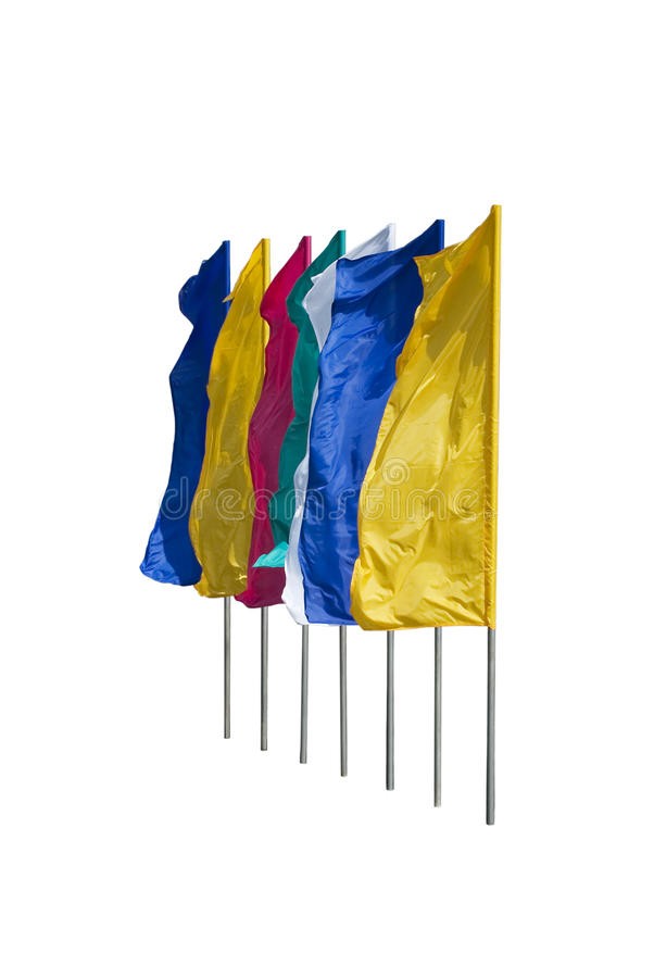 Multi-coloured flags. Flutter on a wind. It is isolated on a white background stock photos