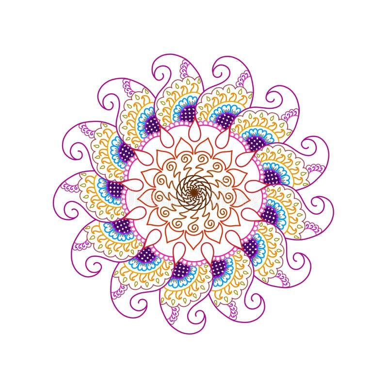 Multi coloured floral spiral art royalty free illustration