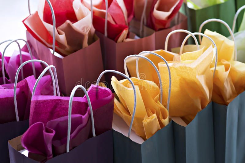 Multi-coloured Gift Bags royalty free stock images