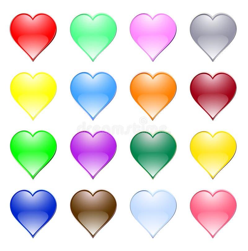 Multi-coloured hjärtor stock illustrationer
