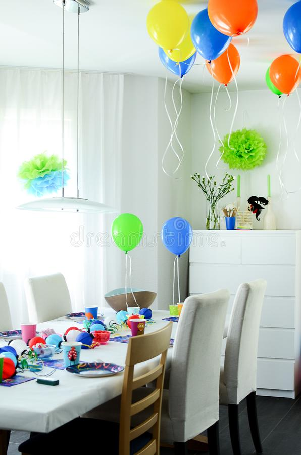 Multi-coloured kids birthday party Rainbow themed. Decorated tab royalty free stock photography