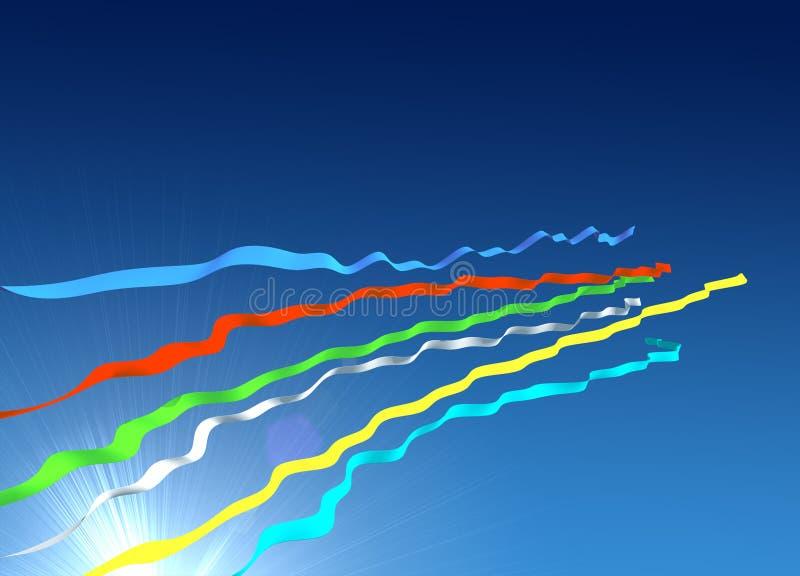 Multi-coloured lijnen en hemel